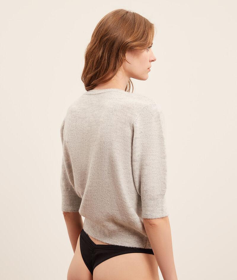 Buttoned mesh sweater;${refinementColor}