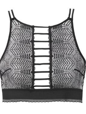 Openwork lace brassiere black.