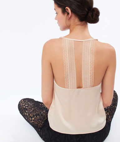 Lace back satin top pink.