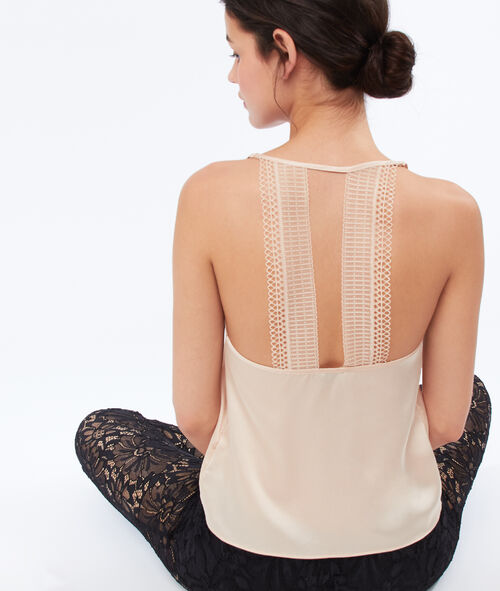 Lace back satin top