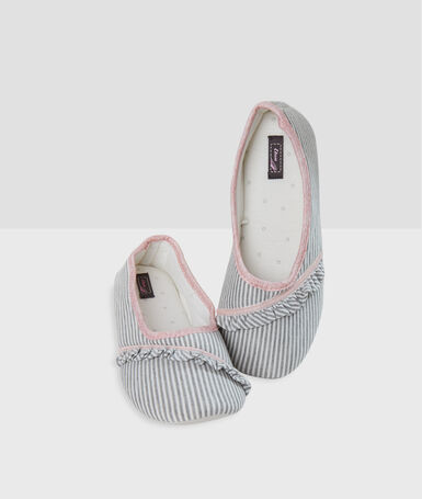 Striped pump slippers ecru.