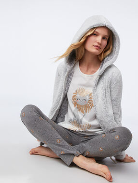 Thre-piece cat print pyjama gris clair.