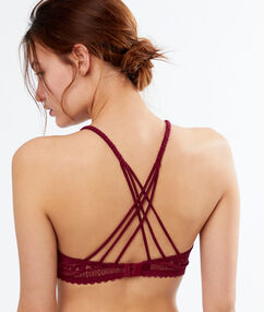 Lace demi-cup padded bra, basque plum.