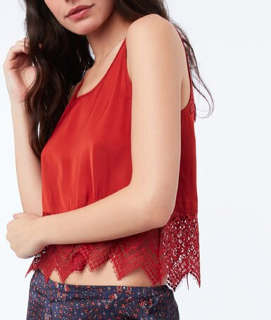 Top with lace panel red brick.