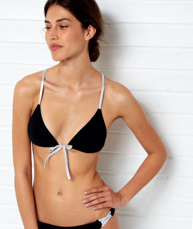 Triangle bikini top with silver ties black.