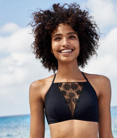 Swimwear bralette with lace black.