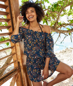 Beach dress, bardot neck navy printed.