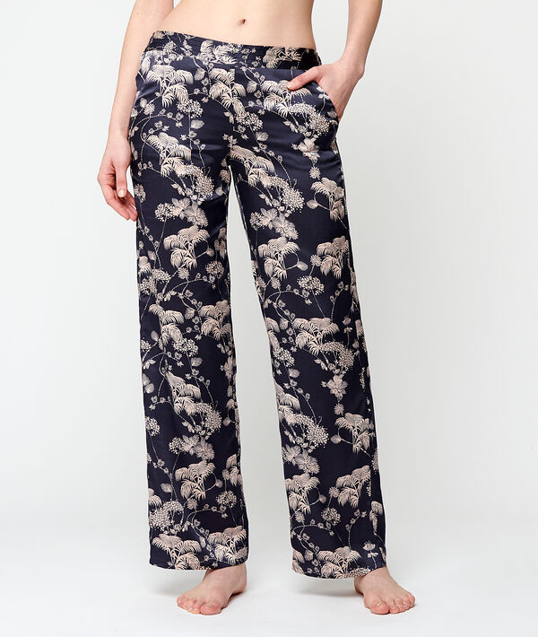 Satin hight waist trousers;${refinementColor}