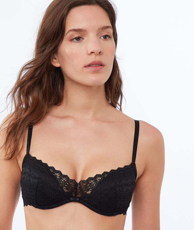 Slightly padded lace bra black.