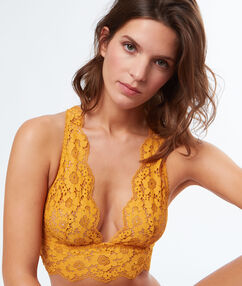 Flowery lace triangle, racer back sun.