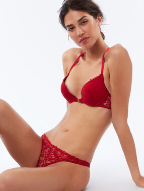 Mixed lace tanga red.