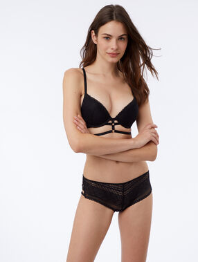 Side tie knicker black.