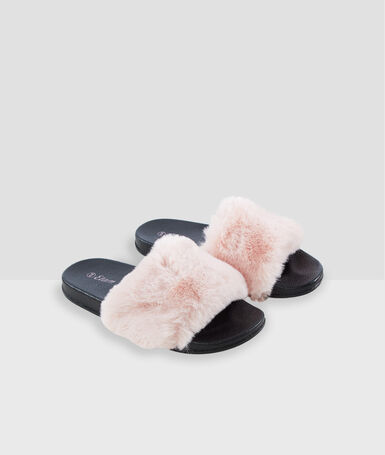 Open-toed faux-fur slippers pink.