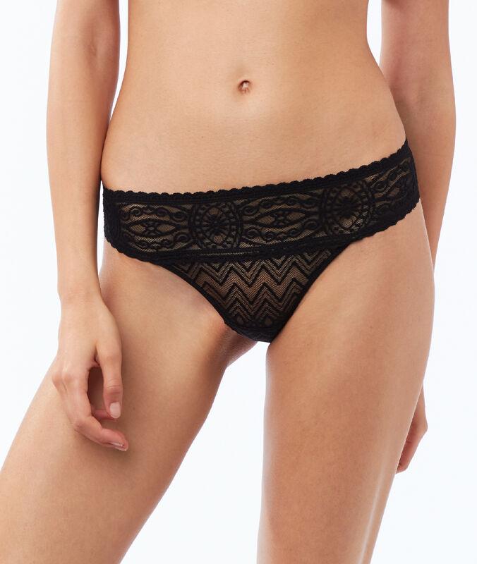 Lace and mesh tanga black.
