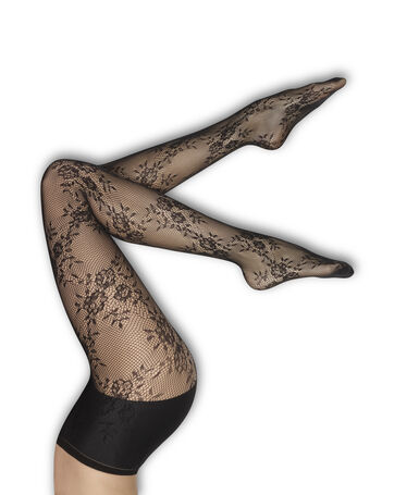 Floral lace tights black.
