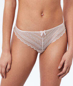 Lace tanga powder pink.