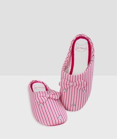 Striped slippers pink.