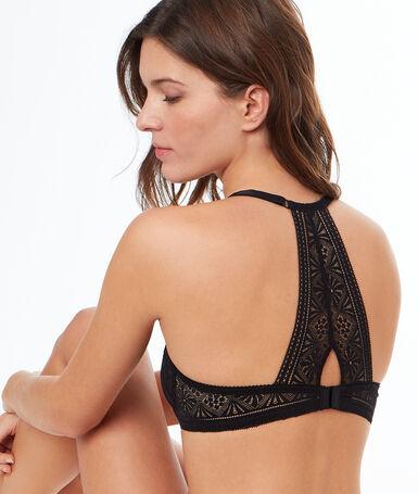 Lace balconnette bra, racer back black.