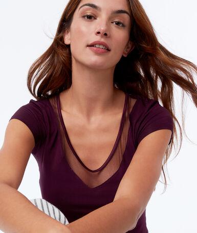 T-shirt décolleté dentelle prune.