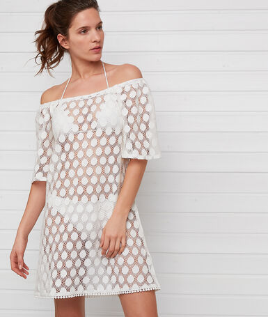 Openwork beach dress ecru.