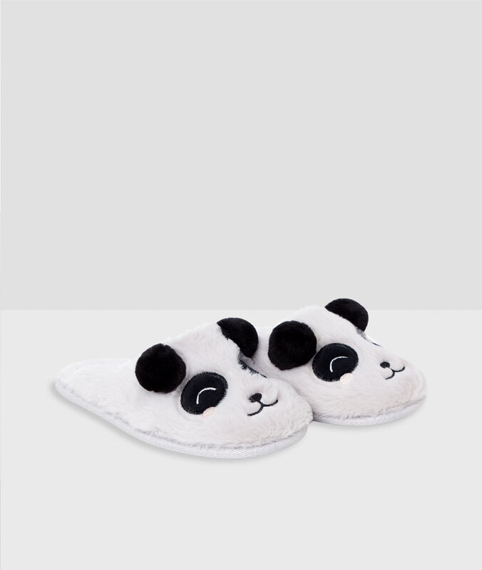 Panda slippers gray.
