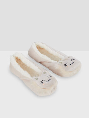 Cat mule slippers beige.