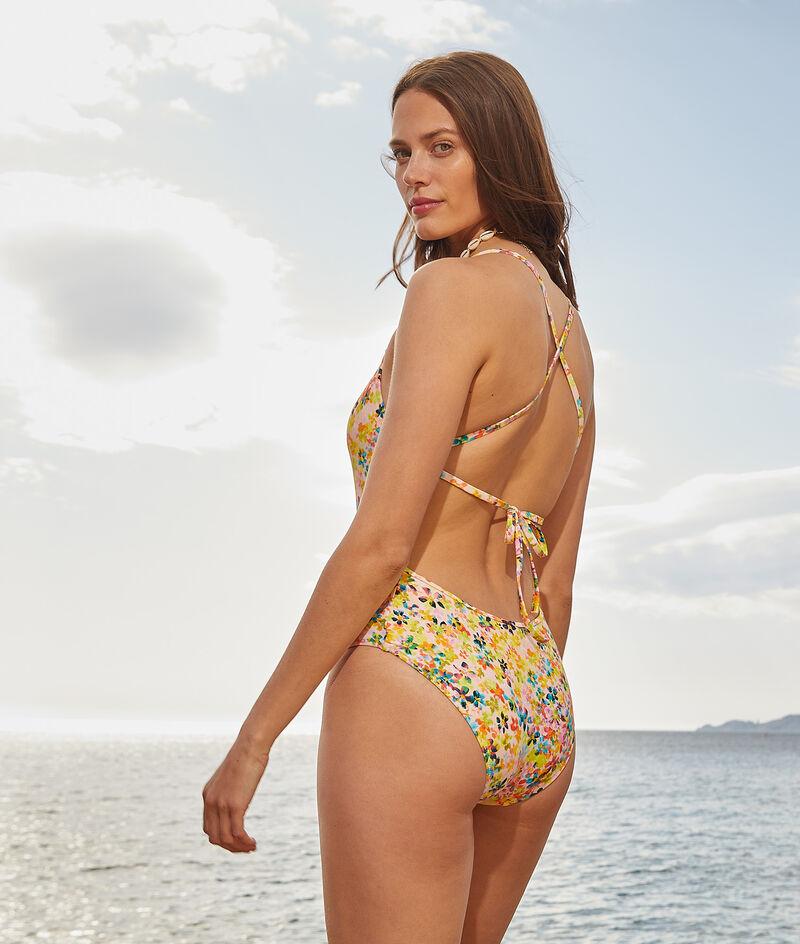 Cross-back one-piece print swimsuit;${refinementColor}