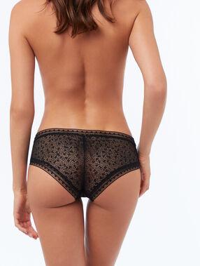 Bi-material shorts black.