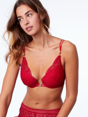 Soutien-gorge n°5 - ampliforme naturel en dentelle, détails bijoux rouge.