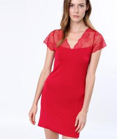 Lace nightdress red.