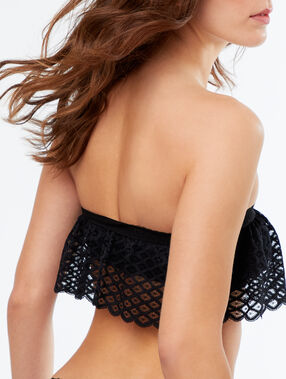 Lace strapless bra with ruffles black.