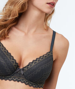 Lace demi-cup padded bra charcoal.