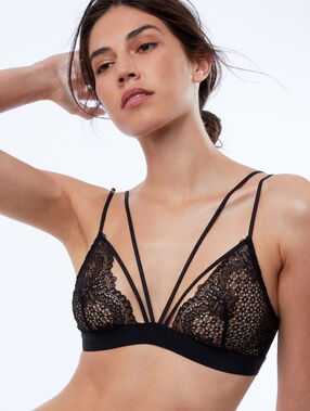 Non-wired lace triangle bra, ties black.