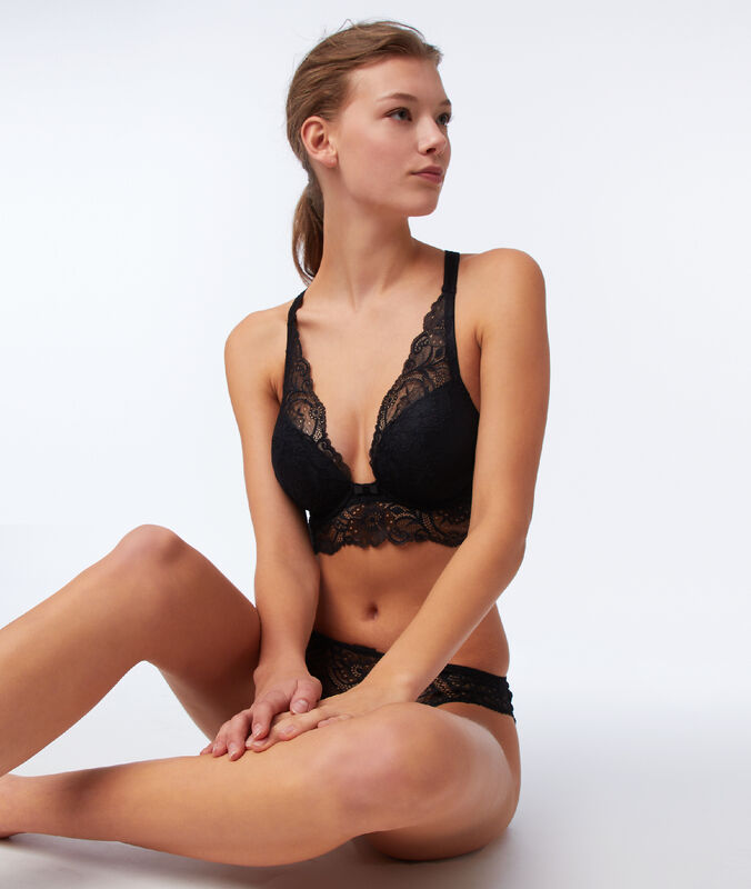 Bra no. 5 - classic padded lace bra with cross back black.