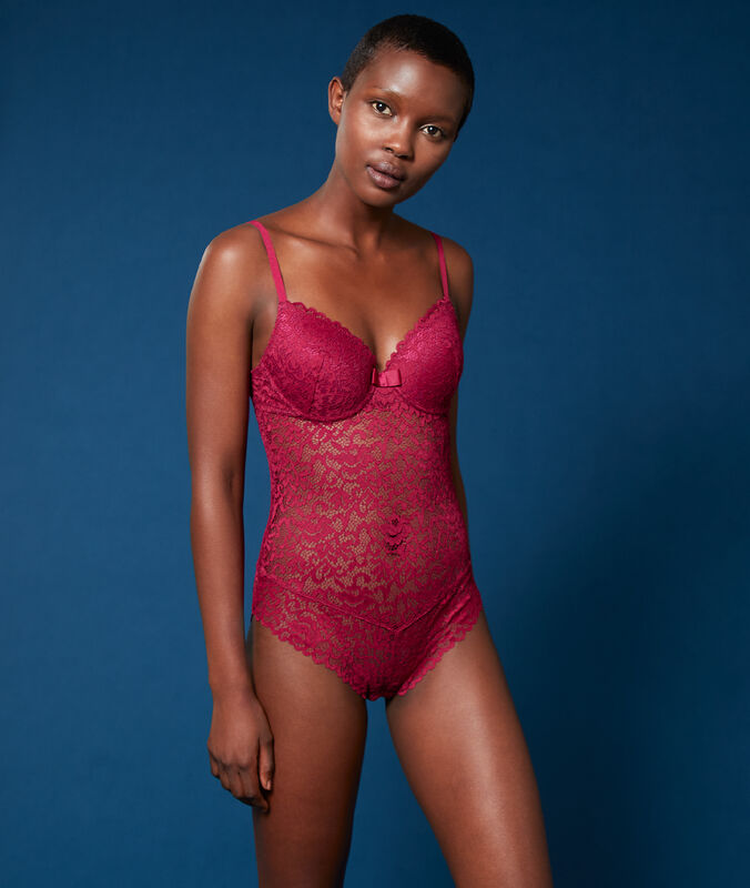 Padded lace bodysuit plum.
