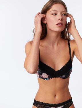 Bra no. 5 - classic printed padded bra black.