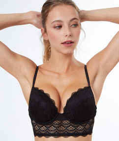 Padded demi cup bra, lace black.