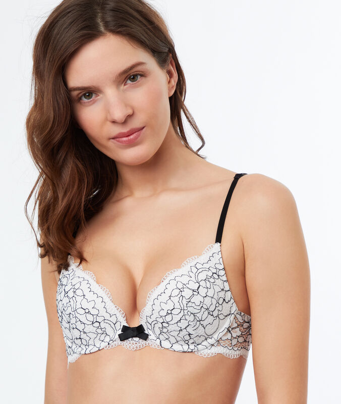 Flowery lace push-up bra off-white.