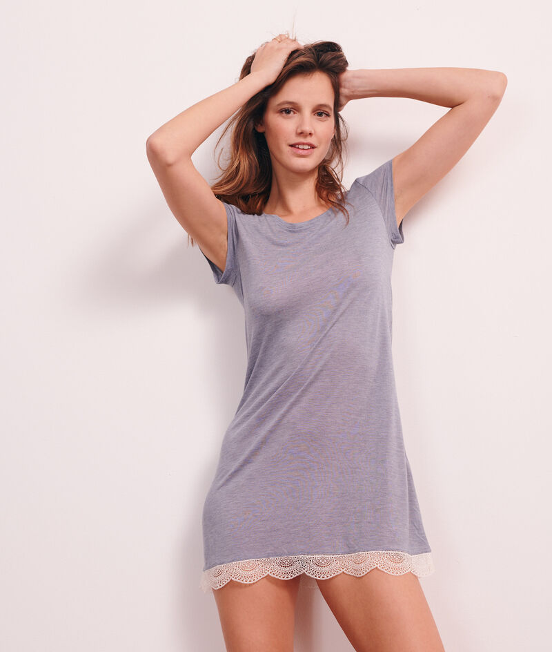 Lace edged nightshirt;${refinementColor}