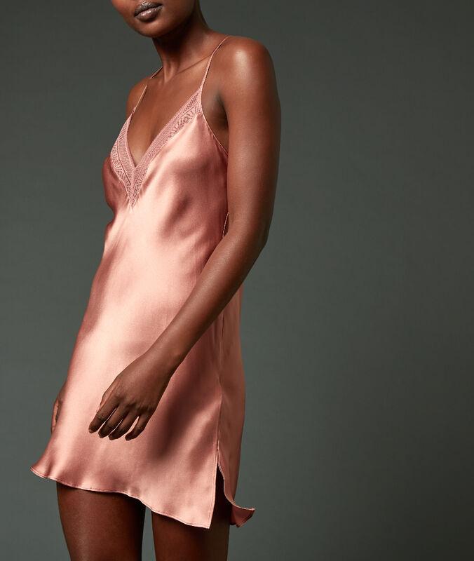 Cross back silk chemise pink.