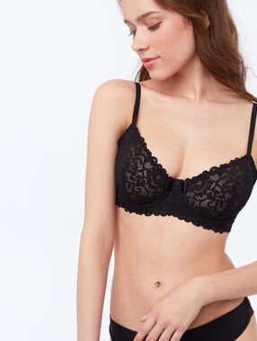 Demi-cup bra black.