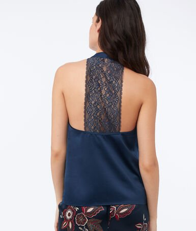 Top with thin lace back straps blue.