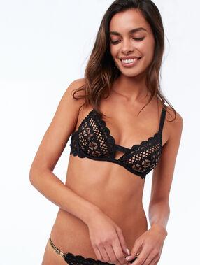 Half-cup bra black.