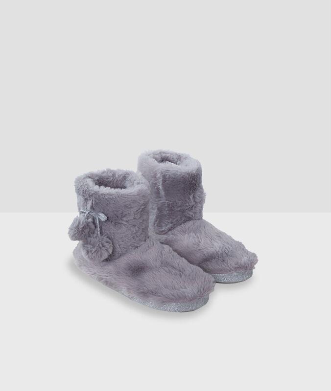 Pom pom boots slippers grey.