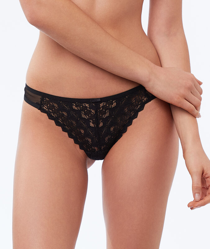 Tulle and lace tanga black.
