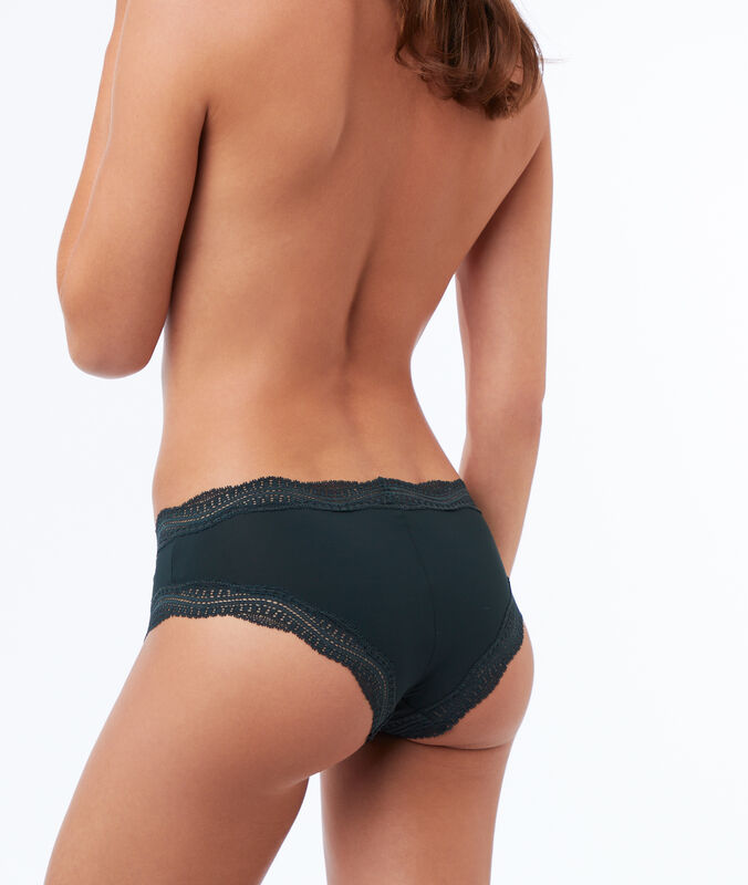 Microfiber microshorts with lace trim green.