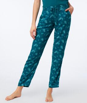 Pantalón estampado hojas verde.