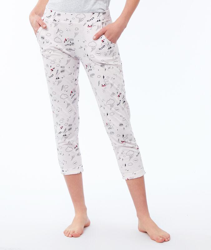 Print capri pants pale pink.
