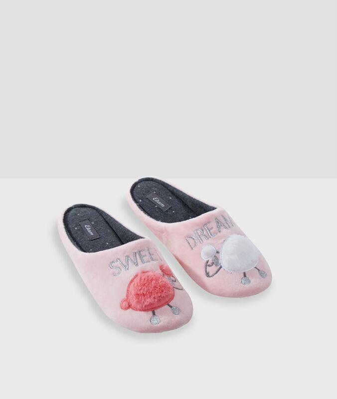"""""""sweet dreams"""" sheep mule slippers pink."""