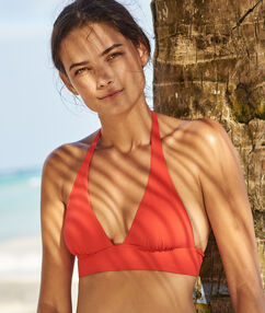 Swimwear triangle bra with basque red.